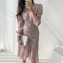 Korean Chic French Minority Spring and Autumn Wear Careful Pleated V-neck Floral Waist Slimming Midi