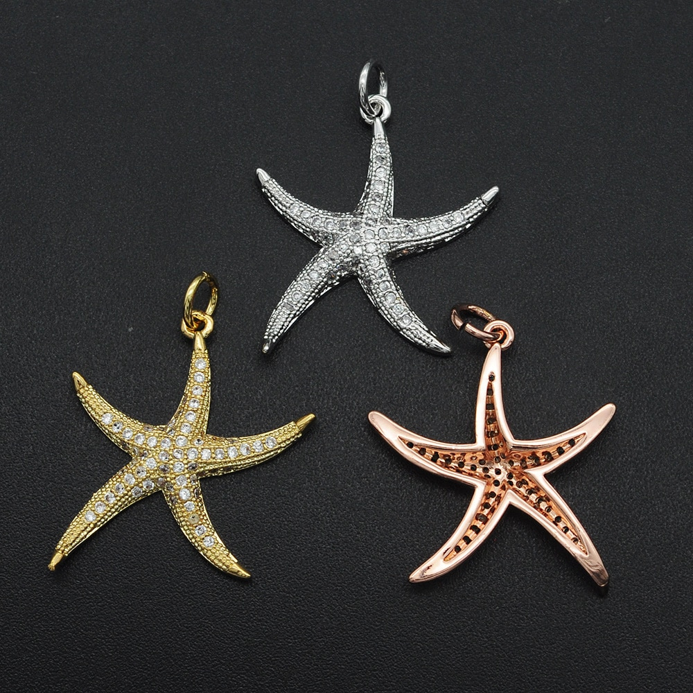26x21mm 100% CZ Zircon DIY Jewelry Sea Star Connectors Charm Wholesale Bracelet Making Connector OEM Order Accepted