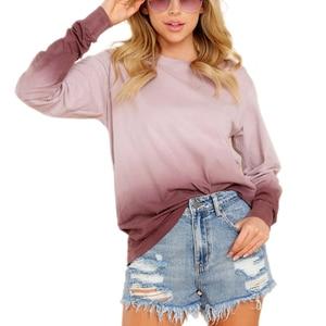 Women's Fashion Long-sleeved Sweater Autumn Personality Gradient Loose Round Neck Sweatshirt