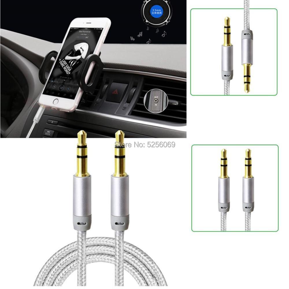 Home® Cable Audio Auxiliar de Jack 3,5mm Macho a Macho - Trenza de Nylon -Color plateado 1M / 3M