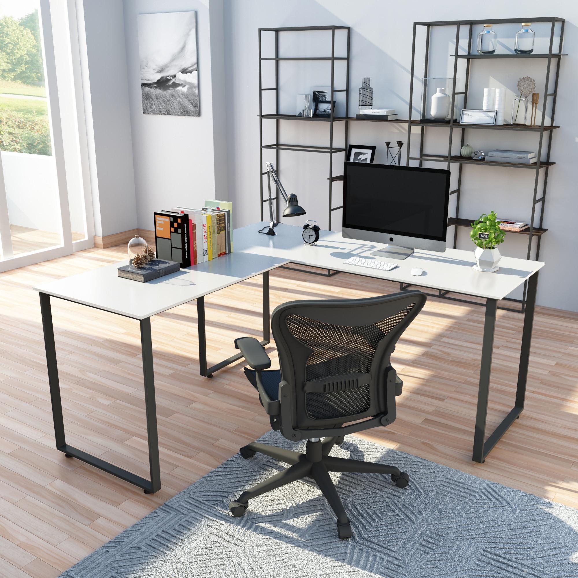 29,9 ''x 58'' x 58 ''l-образный настольный компьютер стол компьютерный стол для ПК вращающийся угловой стол и современные офисные Исследование рабо...