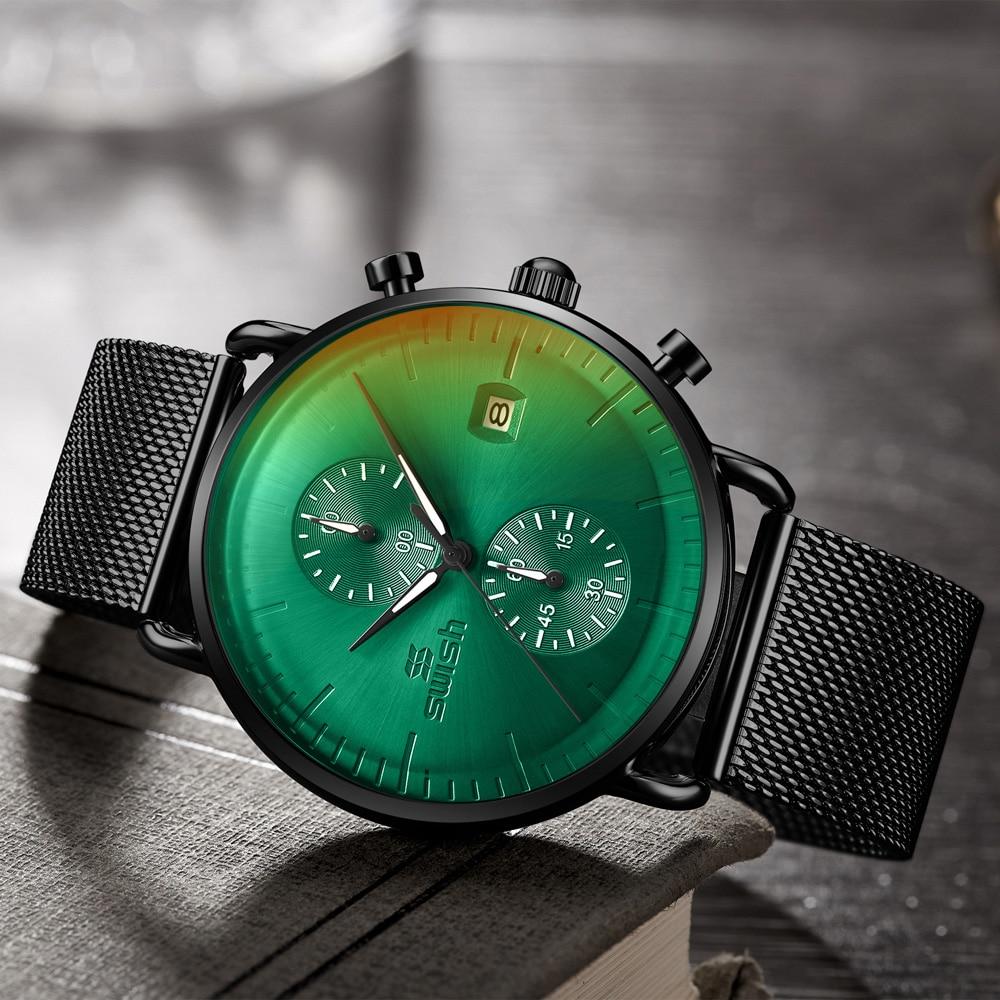 Fashion Business Mens Watches Top Brand Luxury Waterproof Chronograph Watch Men Top Dress Quartz Clo