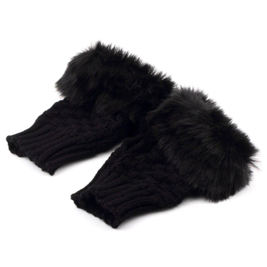 Женские перчатки без пальцев, милые вязаные перчатки из искусственного кроличьего меха, женские зимние вязаные теплые перчатки на запястье...