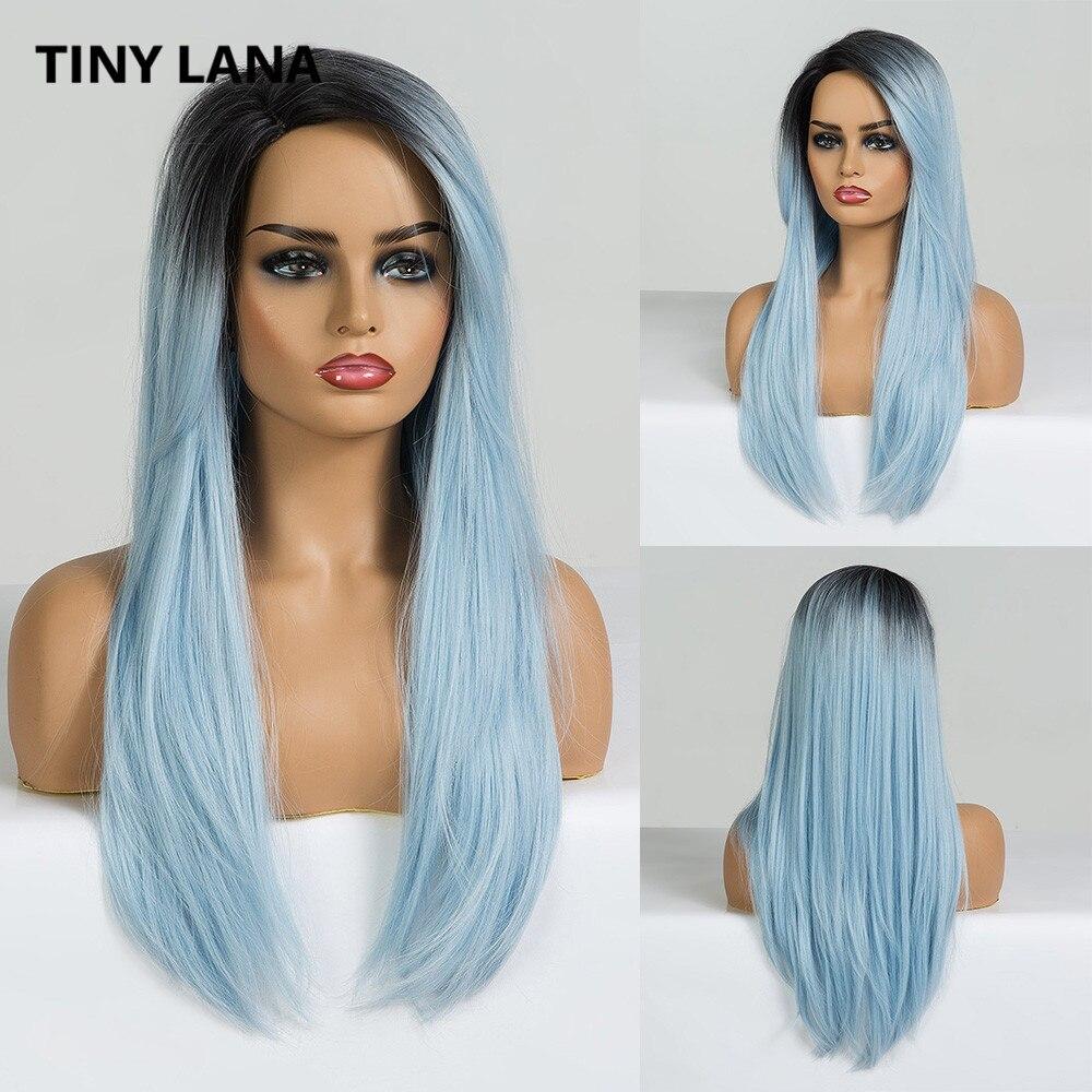 Pelucas de LANA sintético largo diminuto con flequillo recto Ombre Negro Azul lado parte pelucas para mujeres negras Cosplay pelucas naturales Lolita