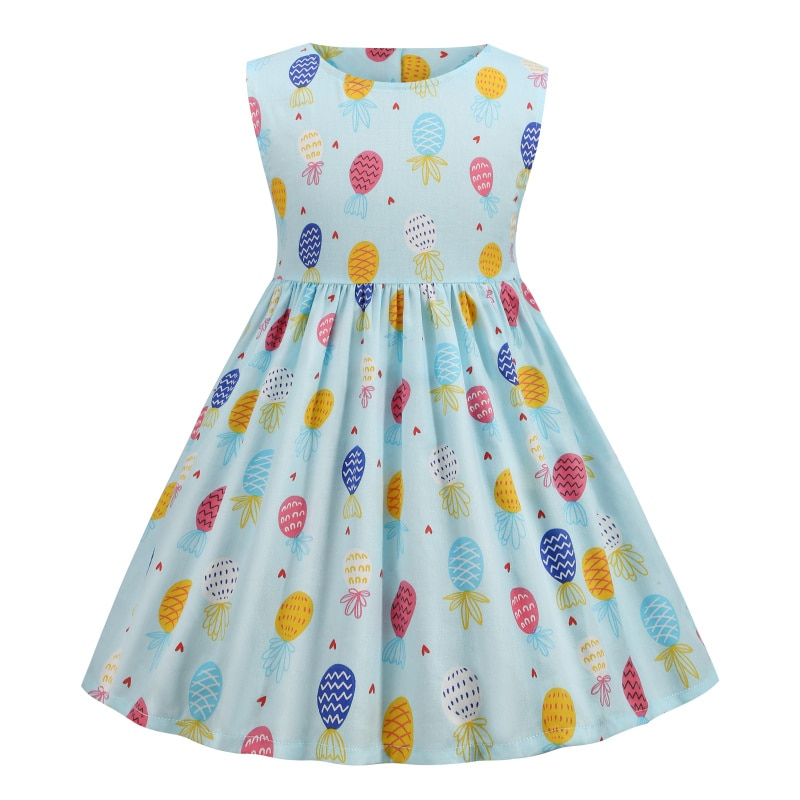 Baby Girls Dress Kids Clothes Casual Birthday Summer Cute Blue Princess Fairy Long Cotton Free Shipping Pineapple Beach Costume