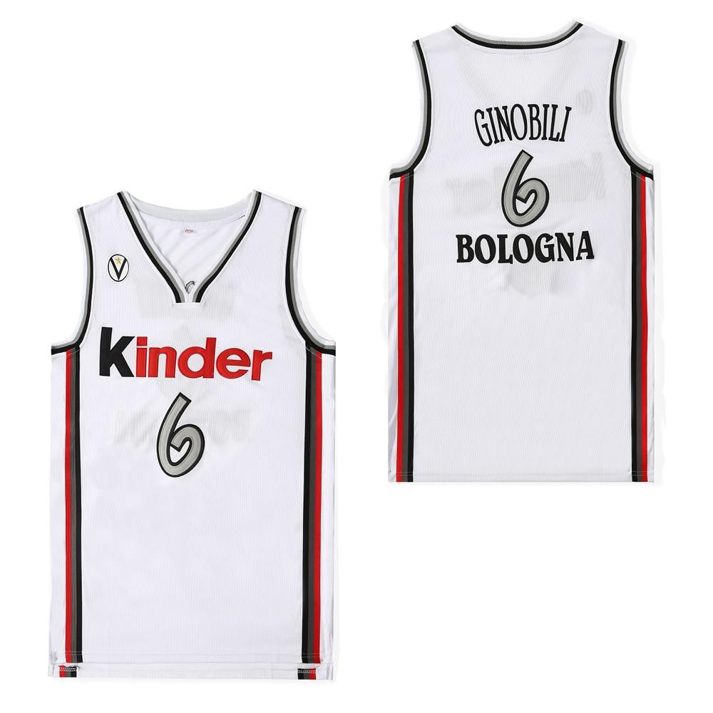 BG baloncesto jerseys kinder 6 ginomili jersey bordado costura al aire libre ropa deportiva Hip-hop cultura película jersey blanco 2020
