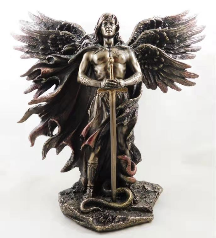Metatron Bronzed Seraphim Six-winged Guardian Angel With Sword And Serpent Big Wings Angel Statue Resin Statues Home Decor