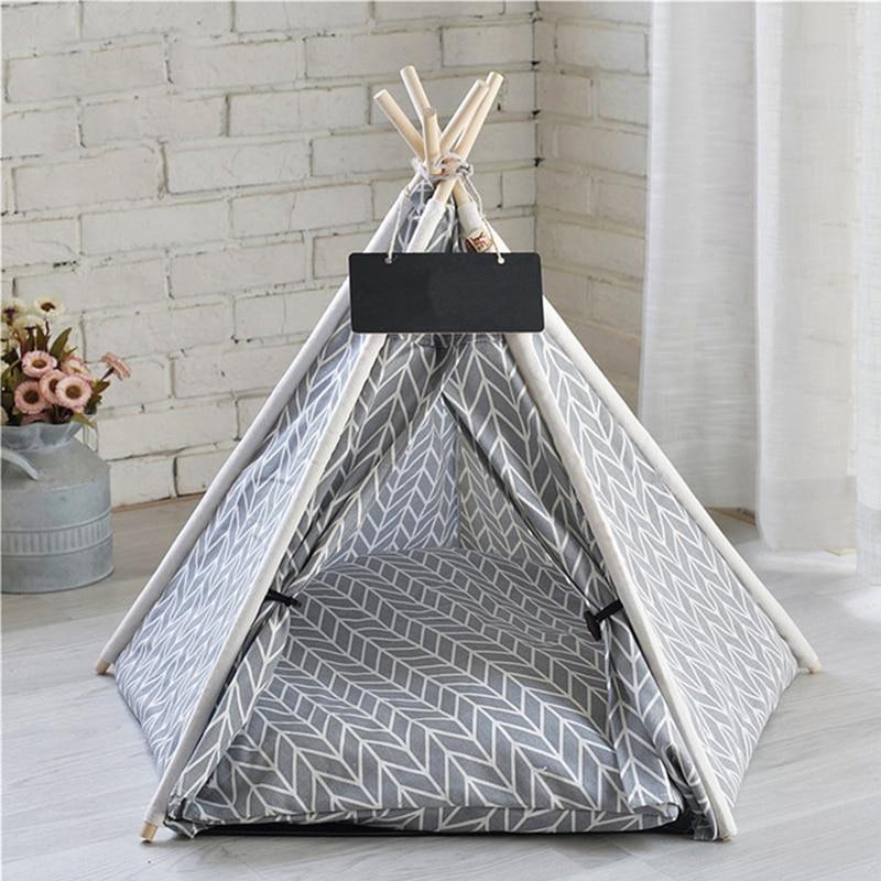 خيمة كتان محمولة للحيوانات الأليفة ، بيت للكلاب والقطط ، بيت قابل للغسل للداخل والخارج ، كهف تيبي مع حصيرة