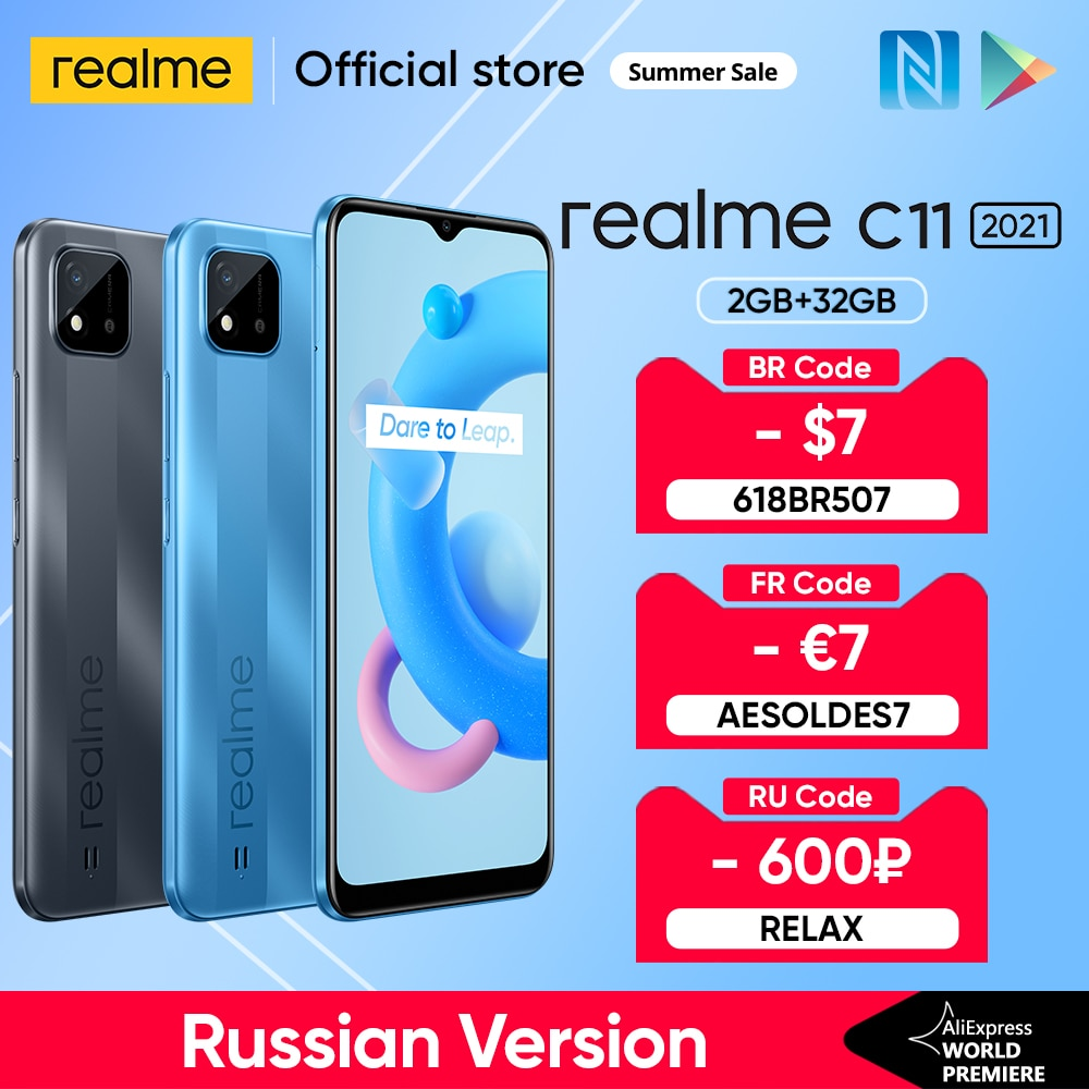 Realme C11 2021 глобальных Русская версия 2 Гб Оперативная память 32GB Встроенная память 6,5 дюйм HD + 5000 мАч долгоиграющий Батарея NFC