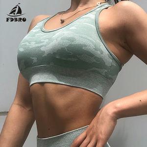 FDBRO Seamless Sports Bra for Women Gym Bra Criss Cross Workout Bras Active Wear Crop Top Running Fitness Yoga Bra Camo