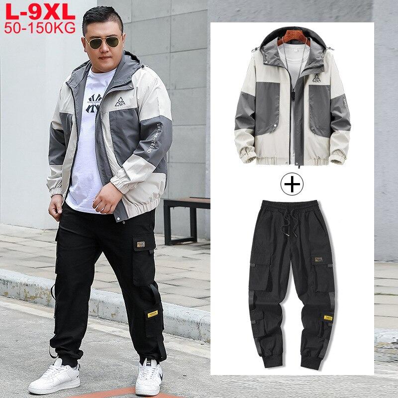 Mens Oversize Xxxxl Coat Male Track Suit 5xl 6xl 7xl 8xl 9xl Large Size Men Sets Tracksuit Harem Cargo Jacket Pants 2 Piece Set