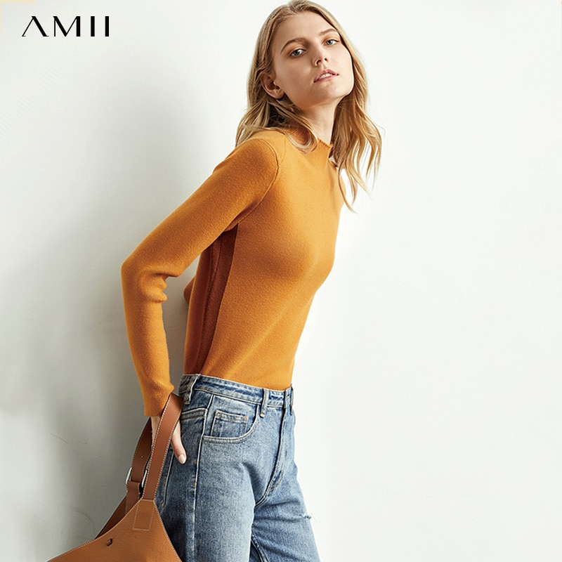 Amii Western fashion knitwear women's new semi - turtleneck bottom unlined upper garment slim fit sweater tops 11920919