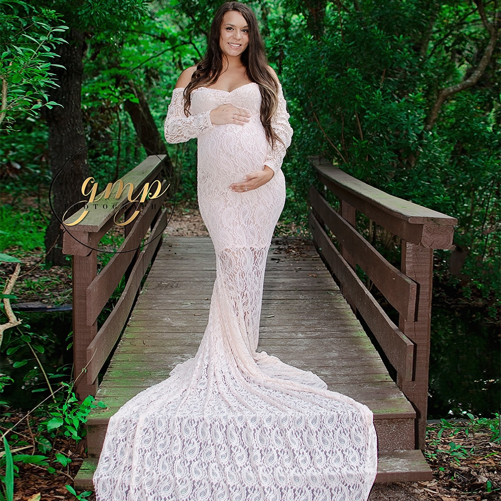D&J Sweet Heart Long Sleeve Maternity Photography Props Dresses Lace Maxi Maternity Gown For Baby Shower enlarge