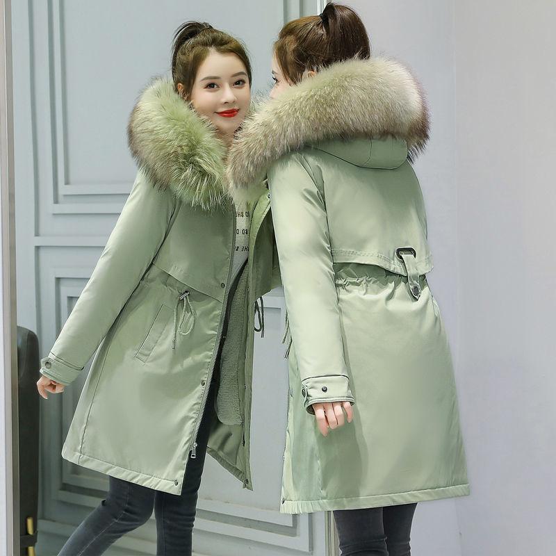 Winter Coat Women Fashion Lining Cotton Padded Parkas Women's Outerwear Fur Collar Hooded Female Jac