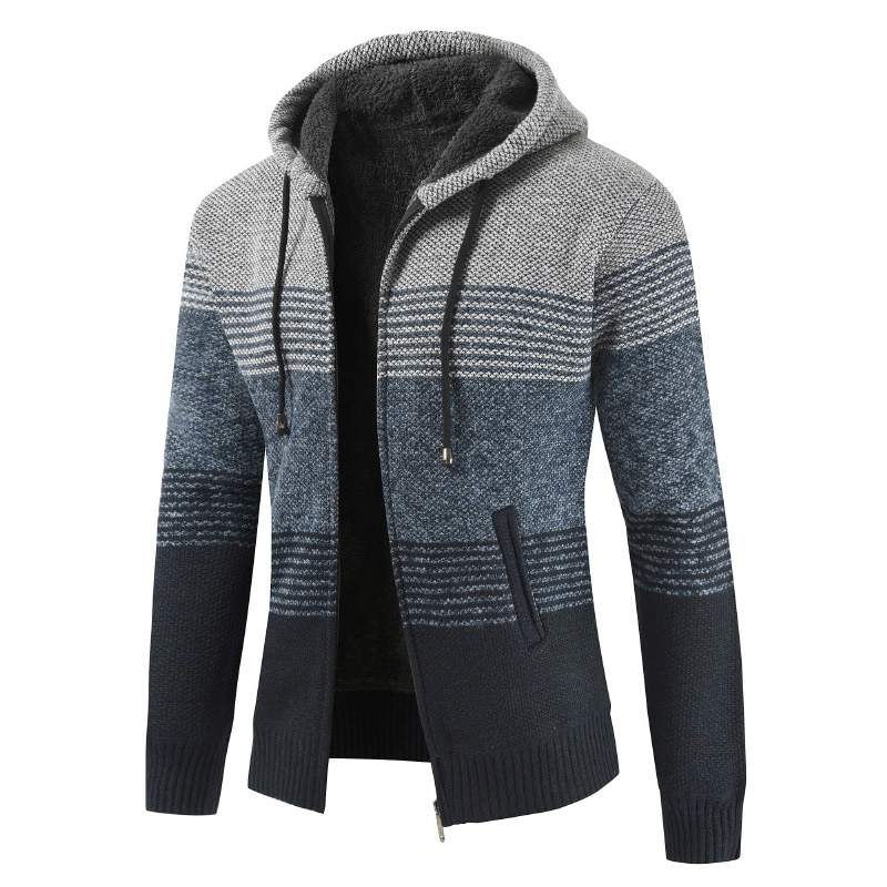 Зимние однотонные качественные вязаные Брендовые мужские свитера с капюшоном M lxбольшого размера модный свитер для мужчин Новое поступлен...