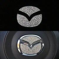 steering wheel bling crystal diamond emblem car sticker for mazda 3 6 2 cx 3 cx 4 cx5 cx9 cx3 cx4 cx 5 cx 9 2015 2020