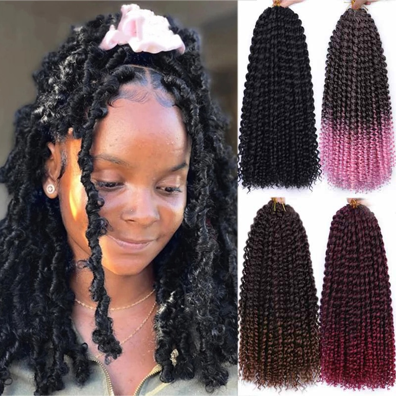 Passion Twist Hair Butterfly Locs Synthetic Water Wave Afro Kinky Twist Ombre Crochet Braid Hair Extension Spring Twist 18inch