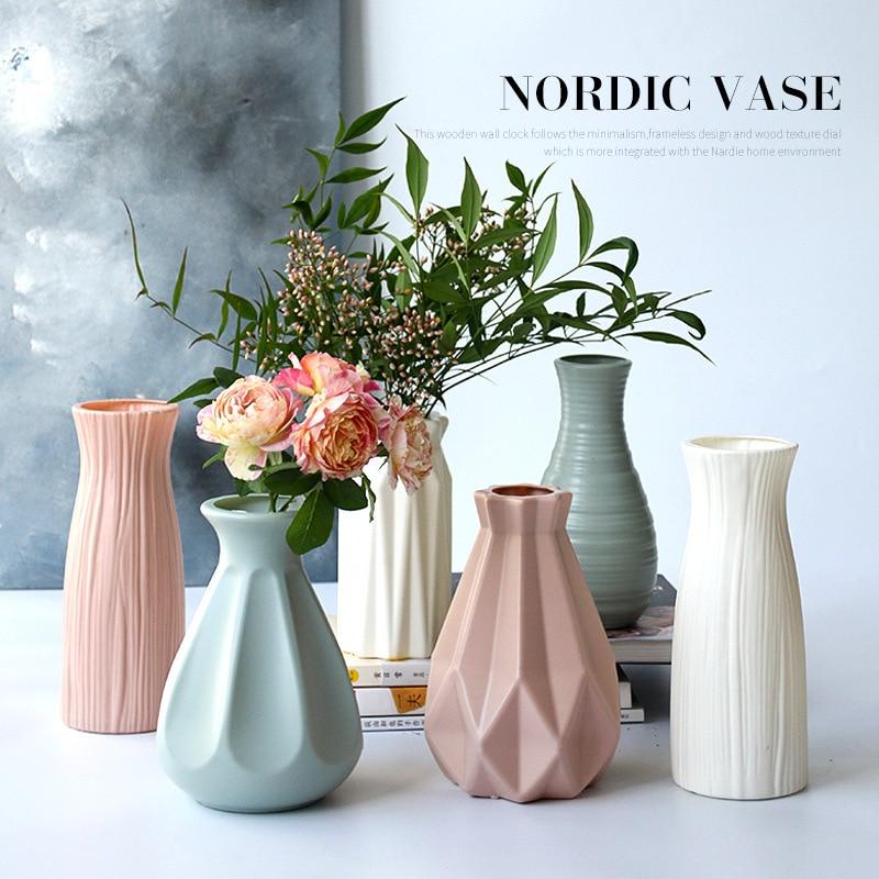 Vaso de plástico com estilo moderno nórdico grande flor verde hidropônico vaso de plástico com flores de bambu rico
