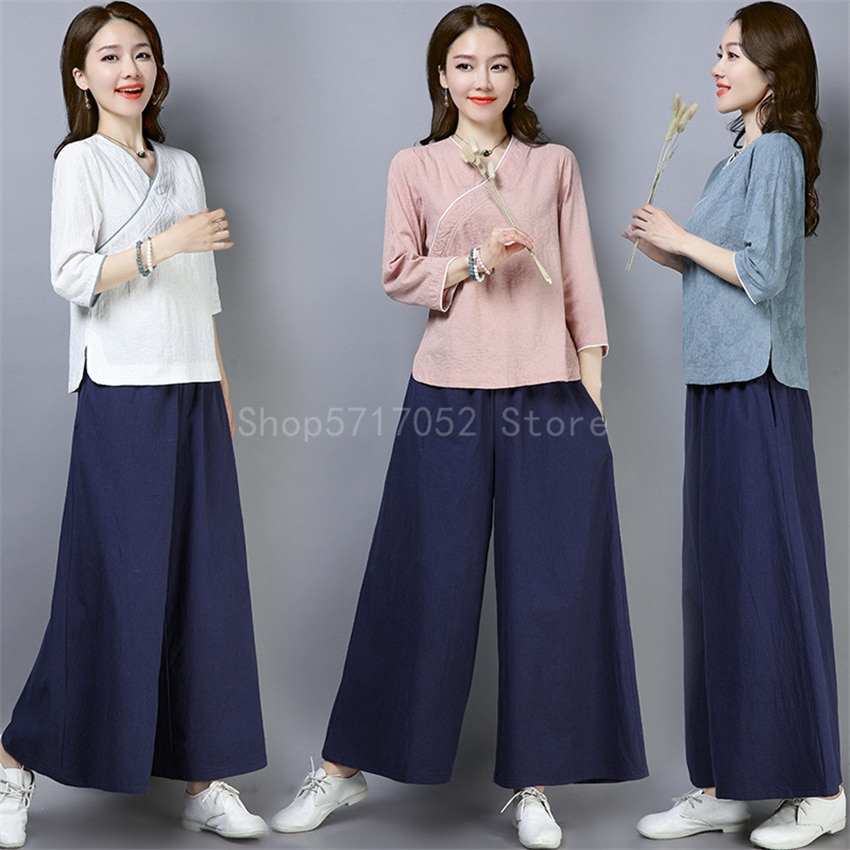 2pc Set mujeres traje chino de lino de algodón pantalón de pierna ancha Yoga tres cuartos de manga blusa chica Kung Fu uniforme de Tai Chi