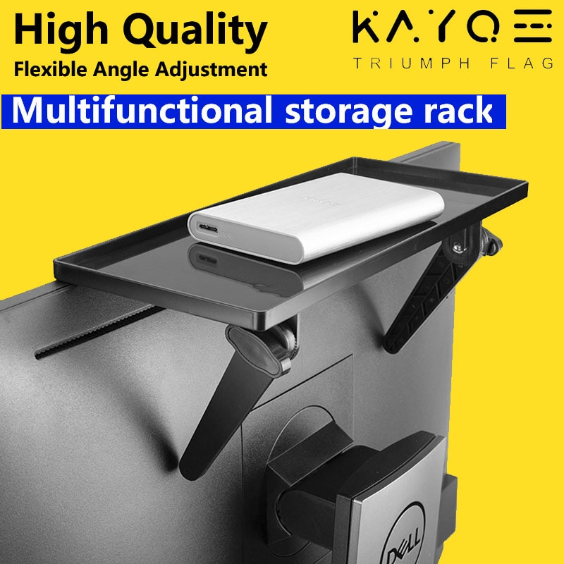 KAYQEE Desktop Rack Adjustable Screen Shelf TV Top Storage Bracket for Streaming Devices, Media Box, Speakers , Home Decor