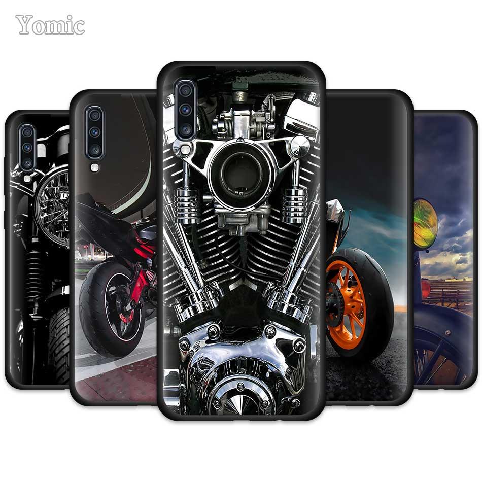 Klassische Motorrad Kühlen Fall für Samsung Galaxy A50 A51 A70 A71 A10 A20 E A30 S A40 A80 EINE Quanten TPU Schwarz Silikon Telefon Abdeckung