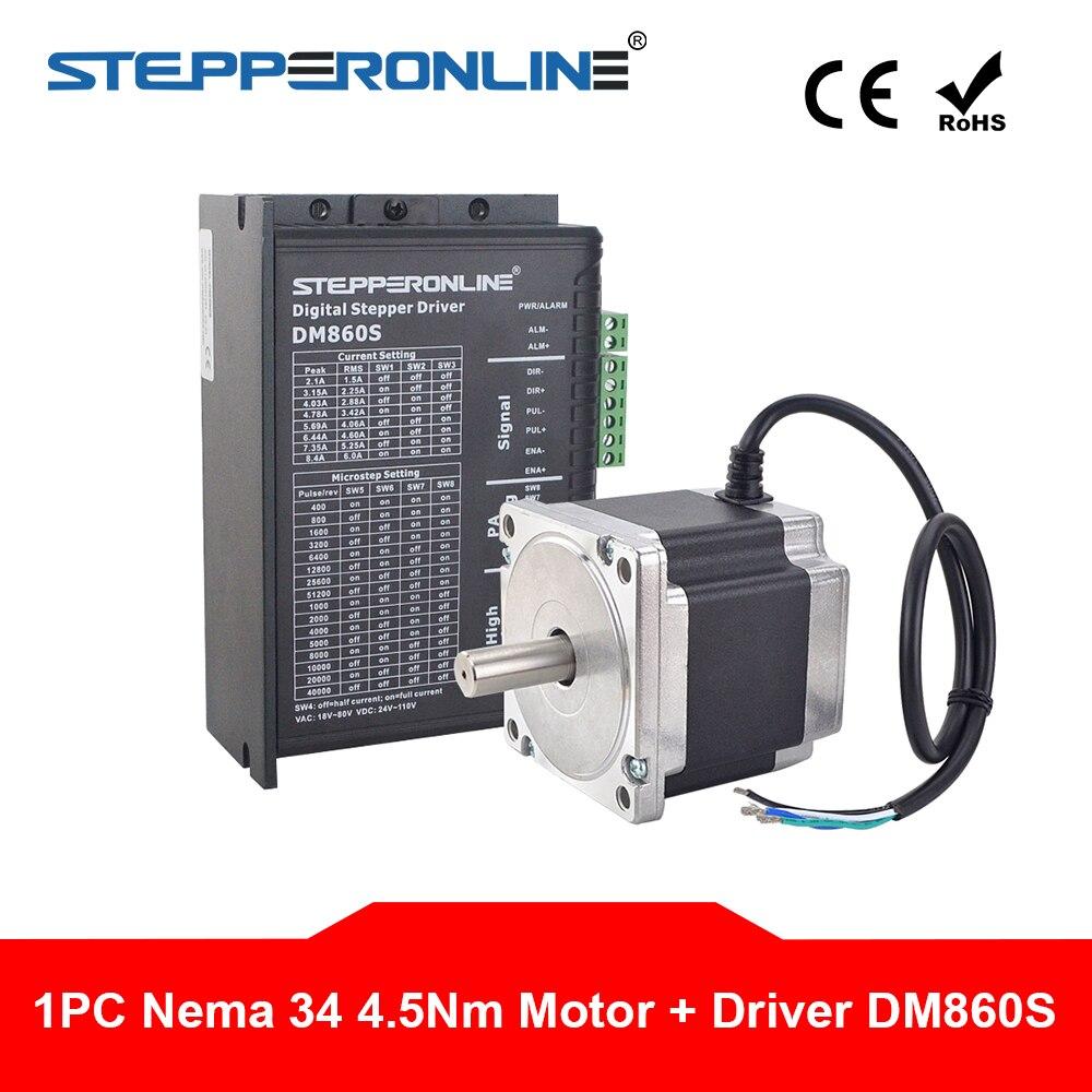 Kit CNC Stepper eixo Nema 34 4.5Nm 86 1 5.2A Nema34 Stepping Motor & Digital Stepper Motor Driver DM860S