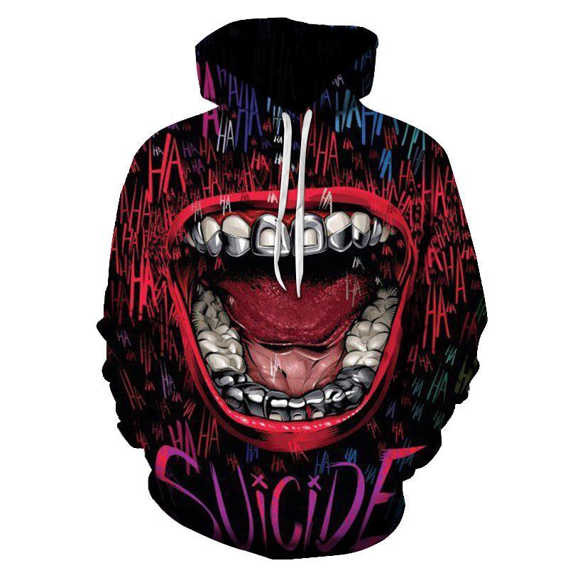Sudaderas con capucha 3D del Escuadrón suicida, sudadera con estampado de chándal de marca para hombre, de Harajuku Sudadera con capucha, divertida sudadera de talla grande