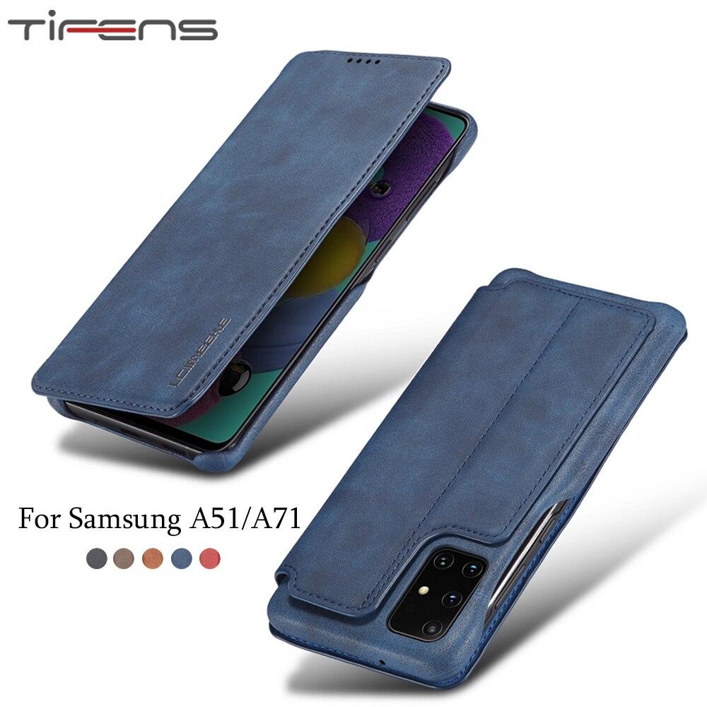 Cartera de cuero de lujo con tapa para Samsung A51 A71 funda para Samsung magnética Galaxy A51 A71 ranura para tarjetas Coque titular de la cubierta del teléfono Etui