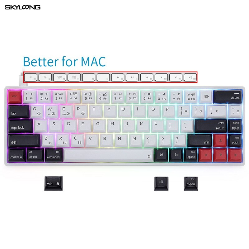 Skyloong AK68S 68 مفاتيح لوحة المفاتيح الميكانيكية اللاسلكية RGB الخلفية PBT مفاتيح التبديل الأحمر بلوتوث لوحة المفاتيح لماك Teclado Gamer