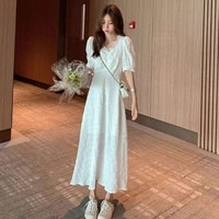 korean style dress casual maxi dress summer v neck puff sleeve plus size dress women boho white long vintage vestidos