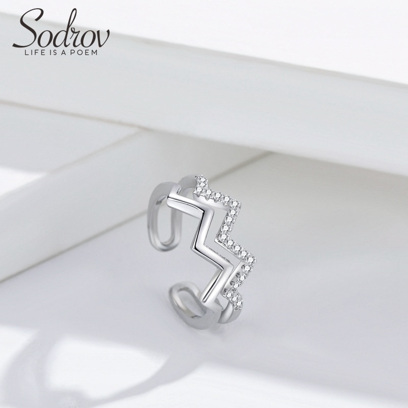 Double Wave Ring Silver 925 Jewlry Silver Rings For Women Open Size Adjustable Jewelry