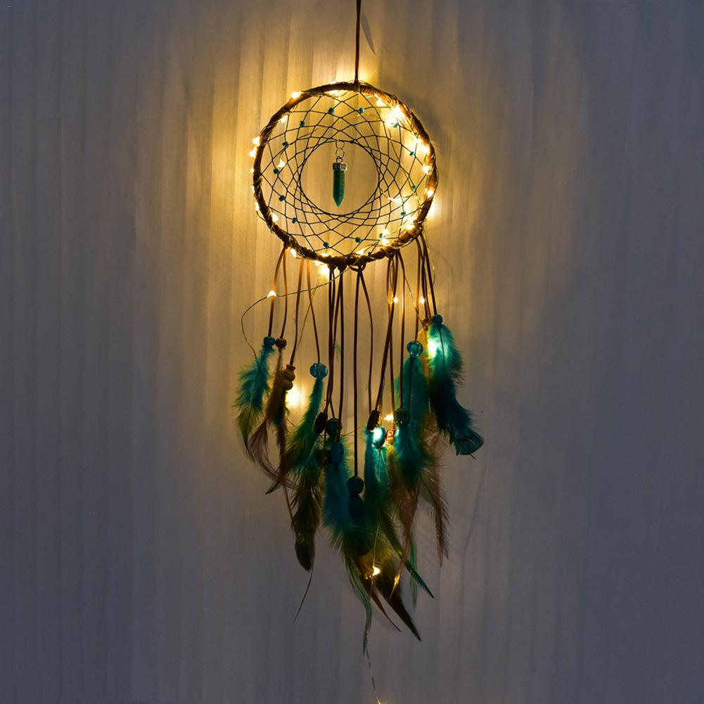 Dream Catcher Led Handmade Dreamcatcher Feathers Night Light Catchers Wall Hanging Home Room Decoration