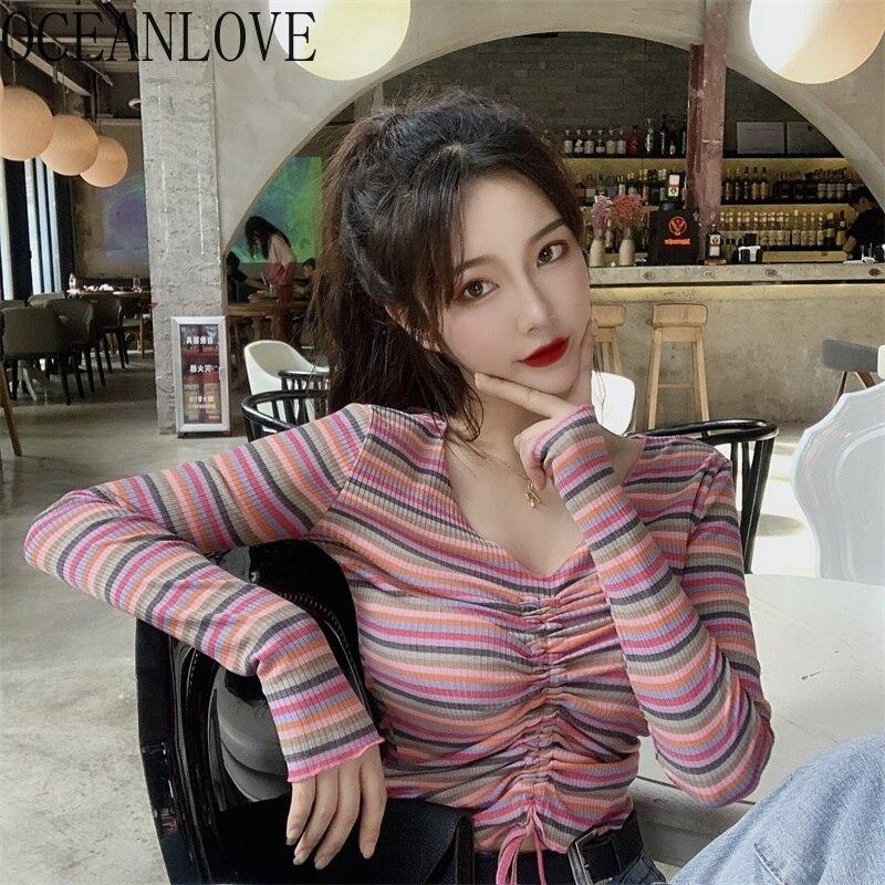 OCEANLOVE, Camiseta de punto a rayas con cuello en V para Mujer, Camiseta corta Sexy con cuello en V, primavera 2020, moda arcoiris Roap para Mujer coreana 15809