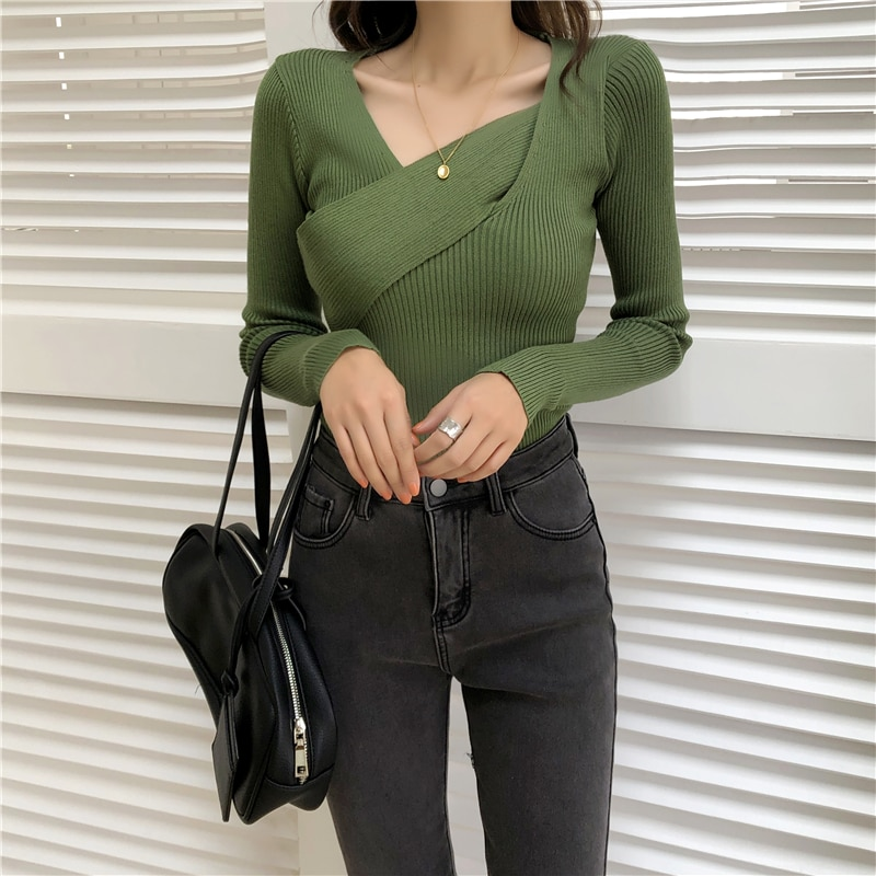 CMAZ 2020 Basic V-neck Solid Autumn Winter Sweater Pullover Women Female Knitted Sweater Slim Long S
