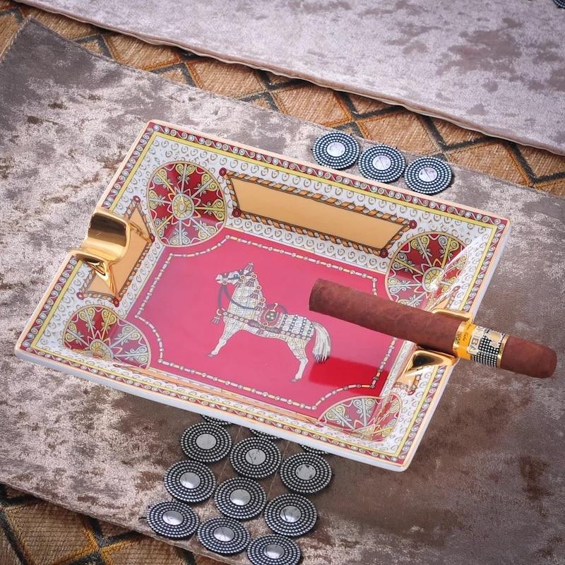 Original Ashtray Bone China Cigar Holder Living Room Decoration Tray Gift For Boyfriend Desk Accessories Vintage Cigar Ashtray enlarge