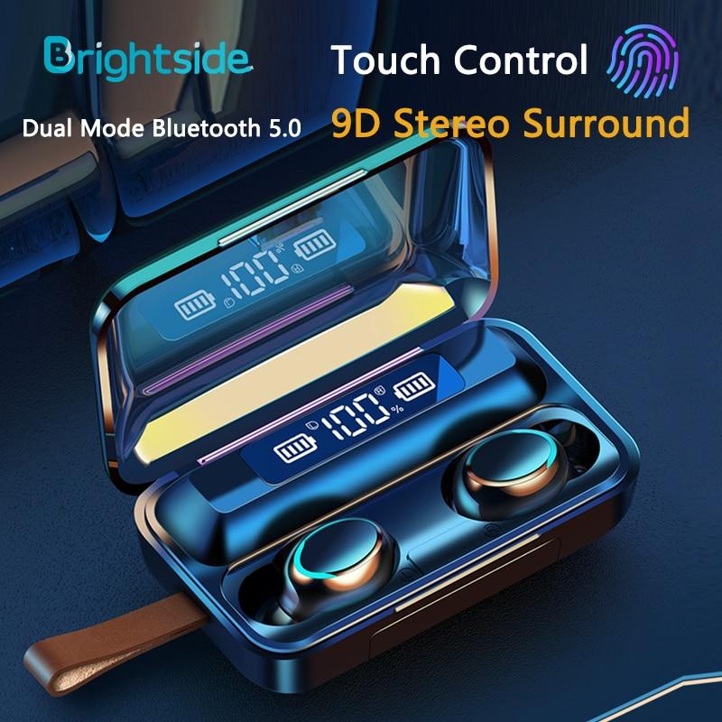 Fones de Ouvido sem Fio Fones à Prova Água com Microfone Brightside Bluetooth Toque 9d Esportes Estéreo Ipx7 Dwaterproof Tws 5.0