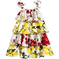 summer kids dresses girls flower print suspender cake dress kids elegant princess dress children party ball pageant dress outfit