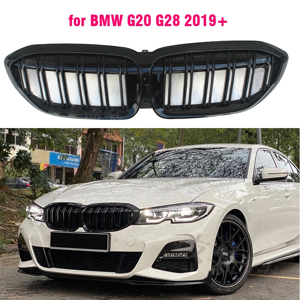 Rejilla de repuesto de parachoques delantero negro brillante para BMW G20 3 serie 320d 330i m340i