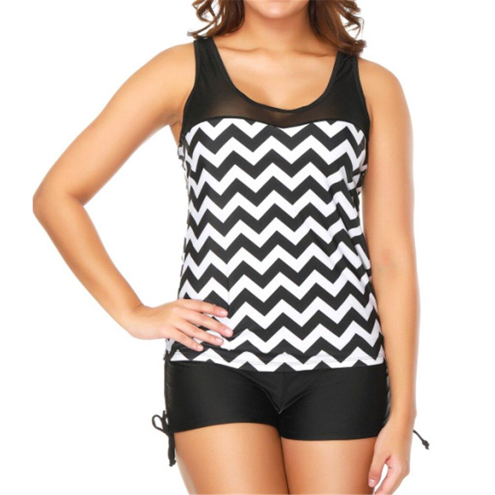 Set Striped Swimwear women 2021 Shorts Two Piece Printed Female Plus Size Swimming Suit Beachwear Summer Bathing