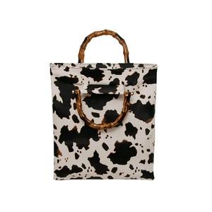 New Style Cow Print Fashion Bamboo Handles ladies Bags Tote Shoulder Bag Women's Crossbody Messenger Bag