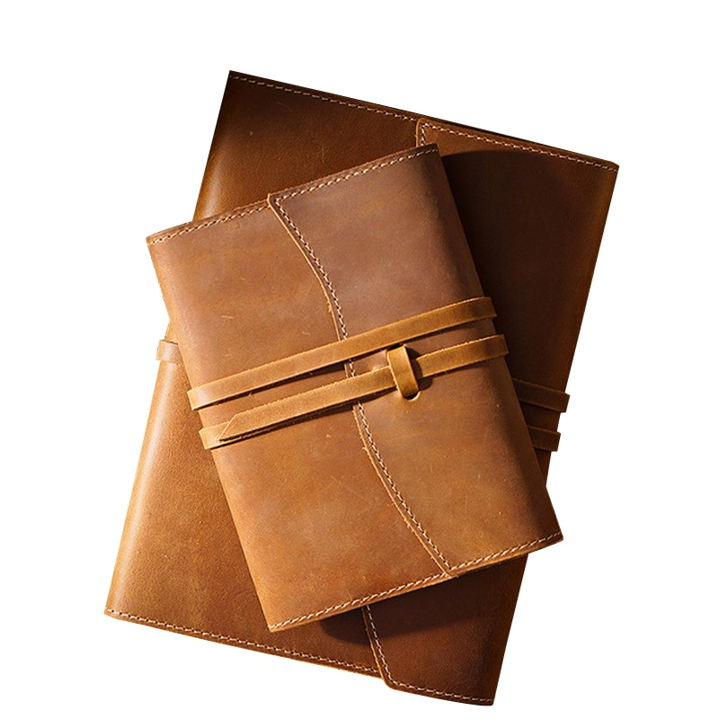 Retro Handmade Notebook First Layer Cowhide Protective Cover Note Book Diary Agenda Organizer Planner Office School Supplies