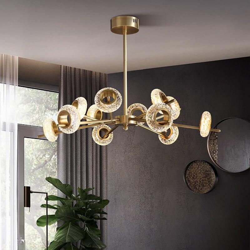 Top Luxury Modern Crystal Gold Rectangle Round Chandelier Lighting Living Room Bedroom Decor Chandeliers Kitchen Island Lights