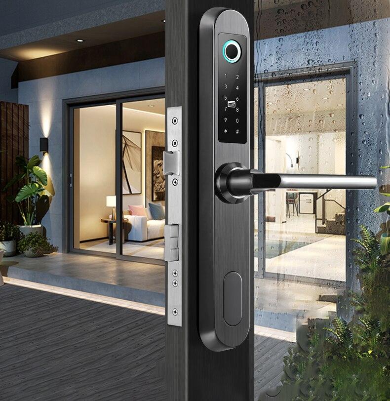 Waterproof Outdoor Cerradura Inteligente Bluetooth TTlock App Smart Home Electronic Fingerprint Smart Lock on Aluminum Door