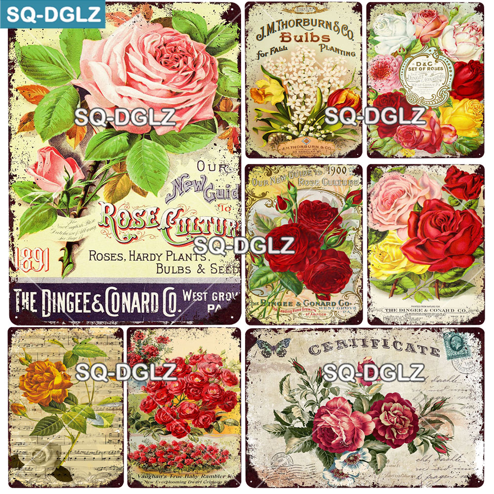 [SQ-DGLZ] Rose Metal Sign Vintage Plaque Plates Decor For Garden Home Wall Decor Flower Tin Signs Pastoral Poster Custom
