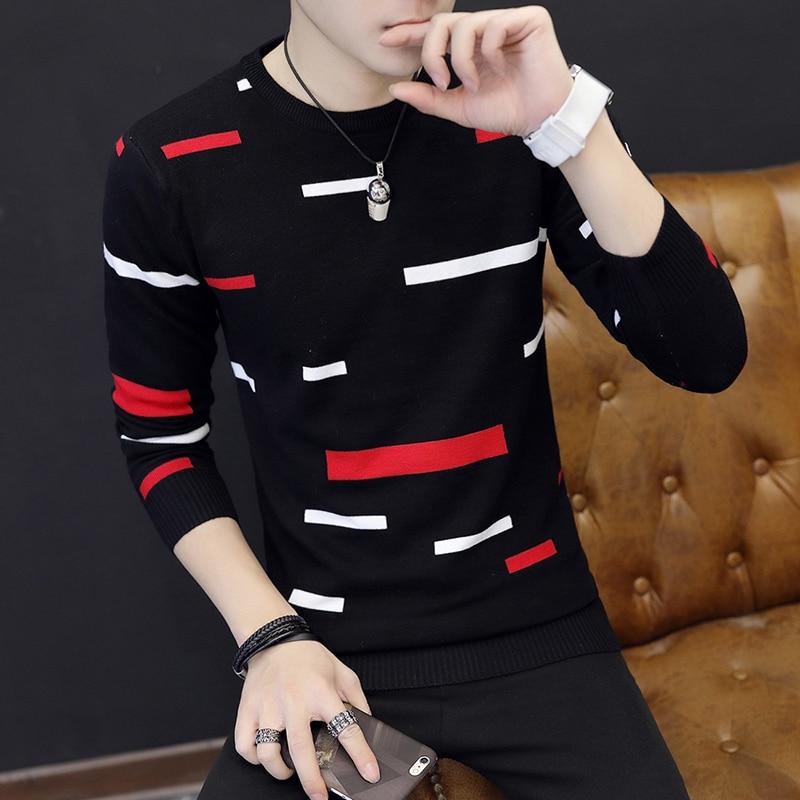 Suéter de cuello redondo para hombre Otoño Invierno 2020, suéteres de punto finos de manga larga a rayas, camisa de bajo estrecho para hombre 030