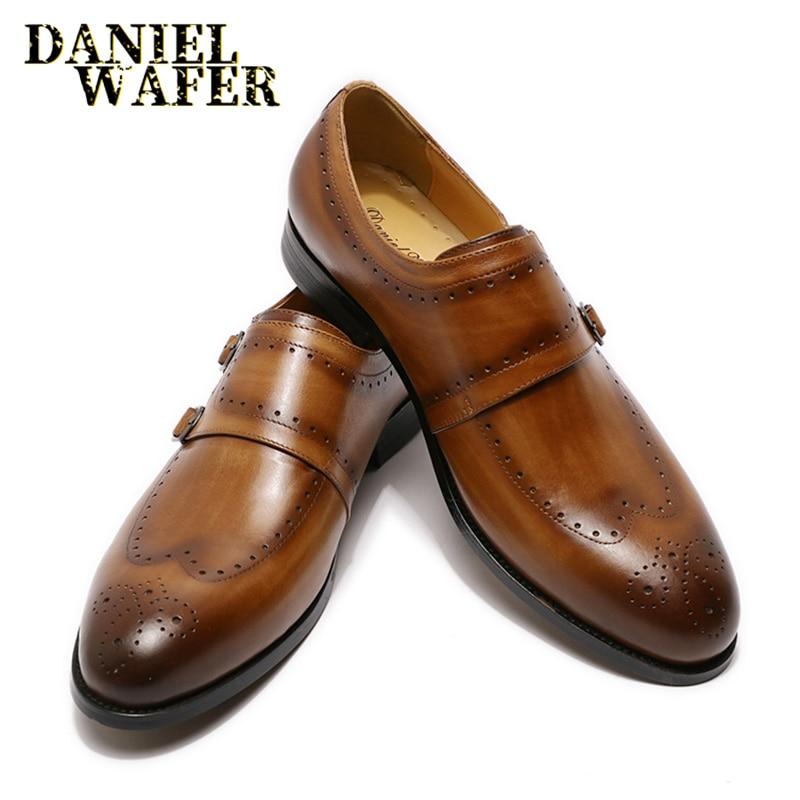 الفاخرة حذاء رجالي أحذية البروغ الجناح تلميح الراهب حزام الانزلاق على البني الأسود الرسمي رجل فستان مكتب الزفاف عادية الرجال أحذية من الجلد