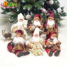 Ruizhi Children Santa Claus Sitting Posture Dolls Christmas Fabric Dolls Toys Window Decoration Kids Christmas Gift RZ1165