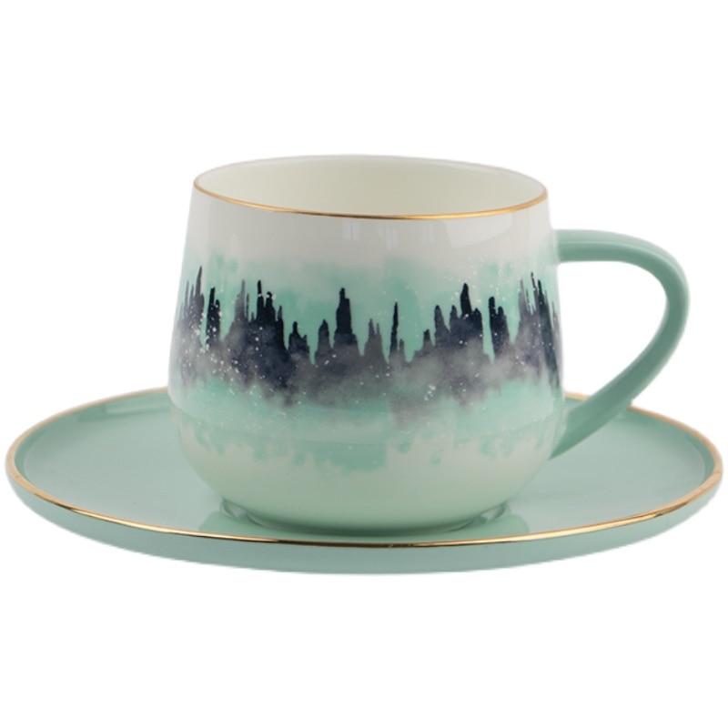 الشمال المحمولة فنجان القهوة تصميم الإبداعية ديكور أكواب قهوة من السيراميك غرامة طقم عشاء خزف صيني كوبك دو كاوي درينكوير BJ50BD