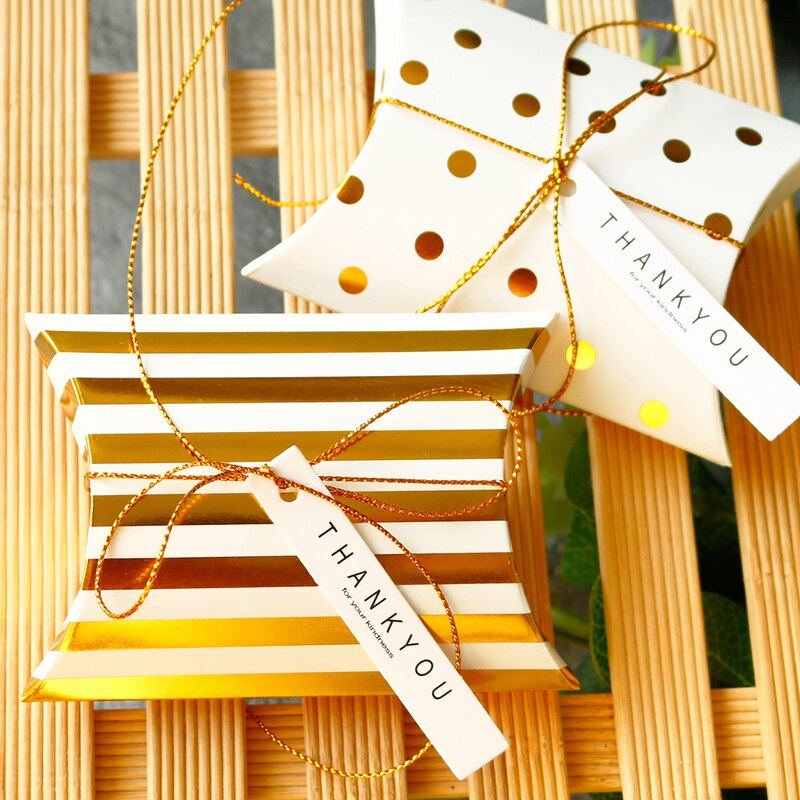 10 pçs dourado pontos listra travesseiro forma caixas festa casamento caixa de presente aniversário crianças biscoito chocolate caixa de doces presente embalagem fornecimento