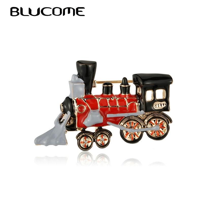 Blucome Enamel Steam Car Train Shape Brooches For Women Men Kids Christmas Gifts Vintage Souvenir Clothes Collar Brooch Bijoux